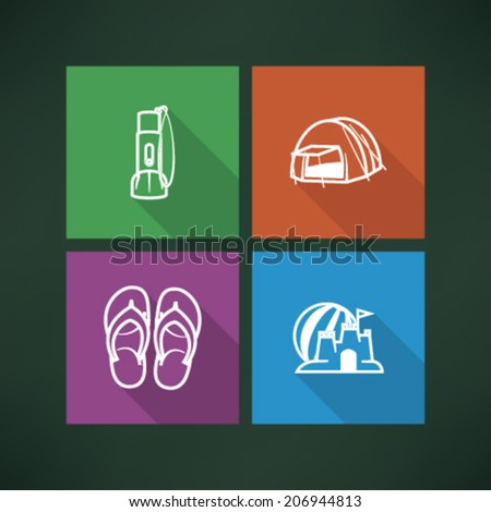 4 icons in relations to summer vacation time, pictured here from left to right, top to bottom - Flashlight, Tent, Flip-flops, Sand castle and beach ball.  - stock vector