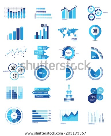 24 icons Infographics Data analysis on white background,vector - stock vector