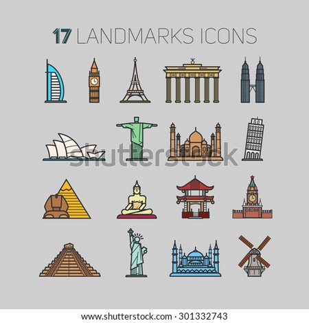17 icons landmarks from around the world, in a contour technique and flat color for you. Thin line flat design, modern vector illustration concept, isolated on gray background. - stock vector