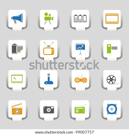 16 icons media - stock vector