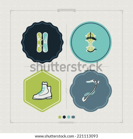 4 icons (objects) to show different kind of winter sports. Pictured here left to right, top to bottom - Snowboard, Crampons, Mountaineering shoes, Ice Axe. - stock vector