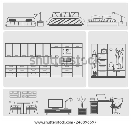icons of different domestic kitchen, bedroom, parlor furniture - stock vector