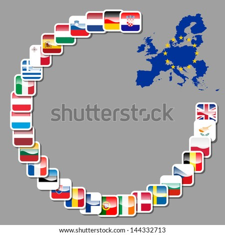 28 icons of european union - stock vector