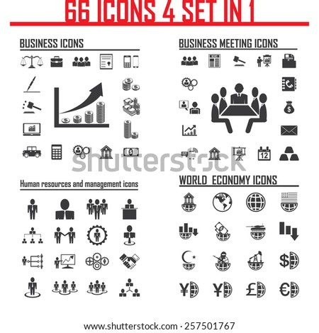 66 icons, 4 set in 1, Set of business, finance & banking icons - stock vector