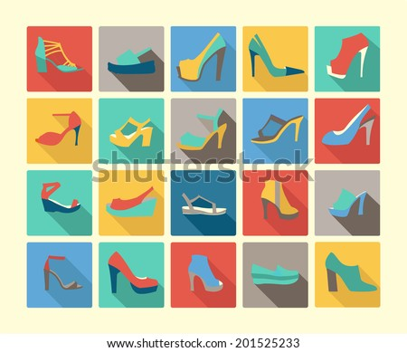 icons set of fashion  Footwear  women's shoes made in Flat design style - stock vector