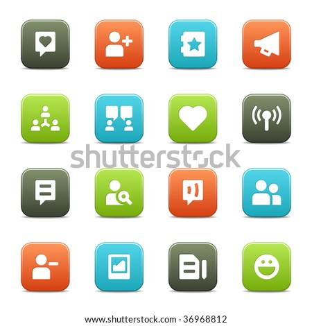 16 icons suitable for communities and social network sites. The vector file includes four color versions of each icon. - stock vector