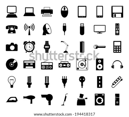 42 icons that represent the most common technology in your home. - stock vector