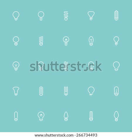 25 idea light bulb minimal line icons - stock vector
