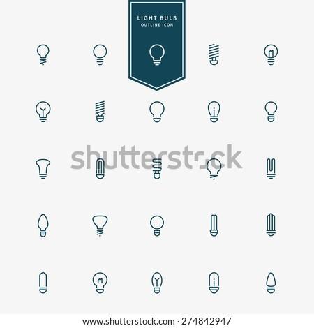 25 idea light bulb minimal line icons vector - stock vector