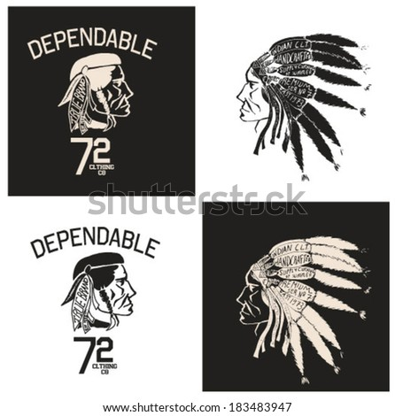illustration  Indian chief wearing traditional headdress set - stock vector