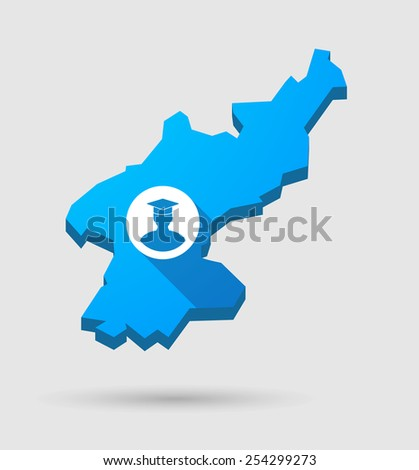 Illustration of a blue North Korea map with a student - stock vector