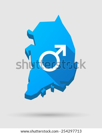 Illustration of a blue South Korea map with a male sign - stock vector