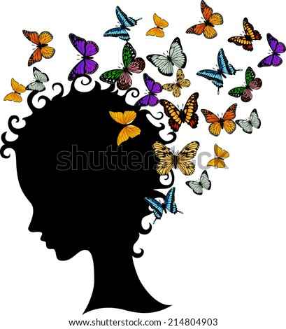 illustration of abstract young girl face silhouette in profile with butterfly - stock vector