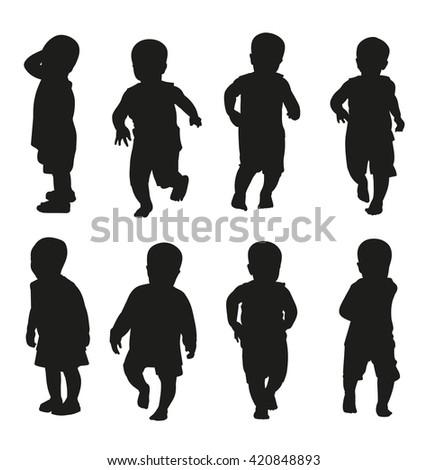 Illustration of  children silhouettes - stock vector