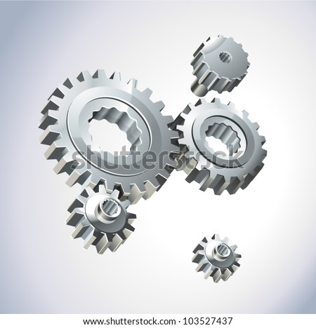 illustration of gear wheels system over white background - stock vector