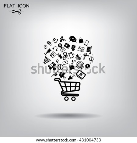 illustration of shopping basket with media boxes. - stock vector