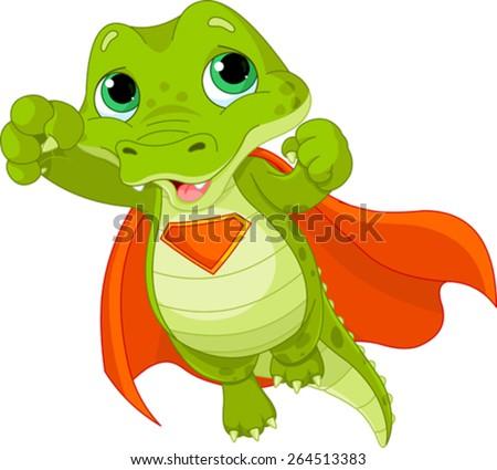 Illustration of Super Hero Alligator - stock vector