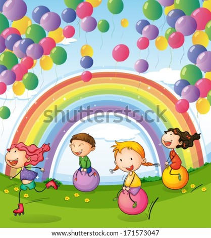 Illustration of the kids playing with floating balloons and rainbow in the sky - stock vector