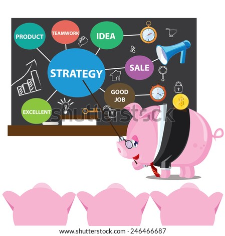 illustration pig business concept ,strategy job excellent - stock vector