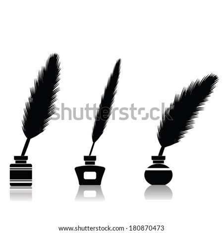 illustration with feather pen for your design - stock vector