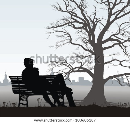 illustration young couple on a bench behind the historic city - stock vector
