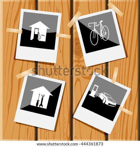 4 images: 2 car fueling, bicycle, workshop. Transport set. Photo frames on wooden desk. Vector icons. - stock vector