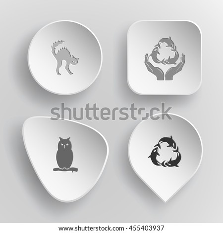 4 images: cat, protection sea life, owl, killer whale as recycling symbol. Animal set. White concave buttons on gray background. Vector icons. - stock vector