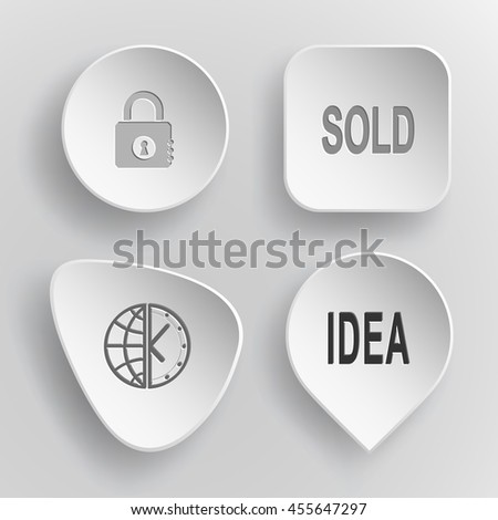"""4 images: closed lock, labels """"sold"""" and """"idea"""", globe and clock. Business set. White concave buttons on gray background. Vector icons. - stock vector"""