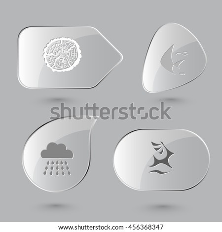 4 images: cut of tree, fish, rain, deer. Nature set. Glass buttons on gray background. Vector icons. - stock vector