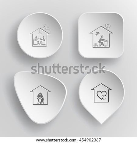 4 images: home celebration, inspiration, family, orphanage. Home set. White concave buttons on gray background. Vector icons. - stock vector