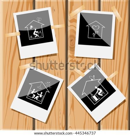 4 images: home inspiration, flower shop, celebration, work. Home set. Photo fframes on wooden desk. Vector icons. - stock vector