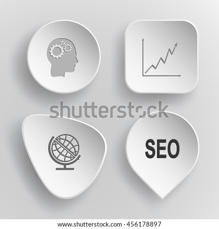 """4 images: human brain, diagram, globe, label """"seo"""". Business set. White concave buttons on gray background. Vector icons. - stock vector"""