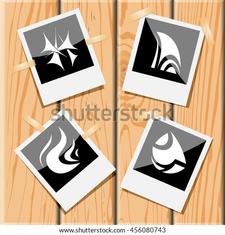 4 images of unique abstract forms. Photo frames on wooden desk. Vector icons set. - stock vector