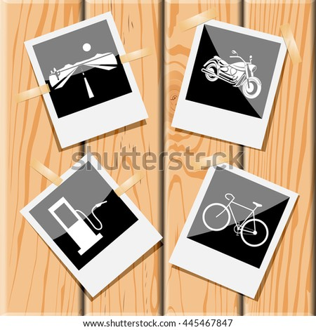 4 images: road, motorcycle, bicycle, fueling station. Transport set. Photo frames on wooden desk. Vector icons. - stock vector