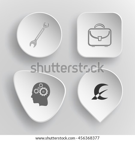 4 images: spanner, briefcase, human brain, monetary sign. Business set. White concave buttons on gray background. Vector icons. - stock vector