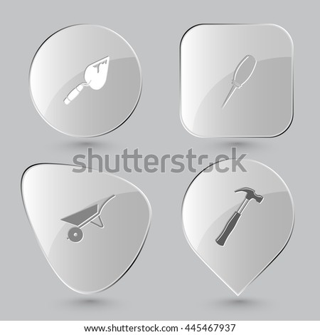 4 images: trowel, awl, wheelbarrow, hammer. Angularly set. Glass buttons on gray background. Vector icons. - stock vector