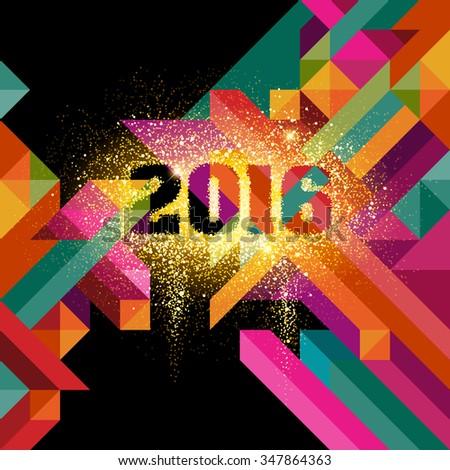2016 in glitter, eps10 vector - stock vector