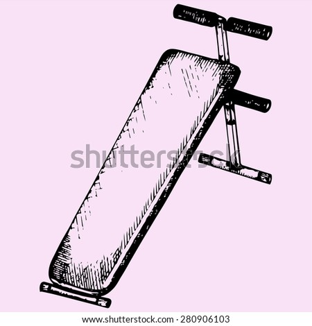 incline bench, doodle style, sketch illustration - stock vector