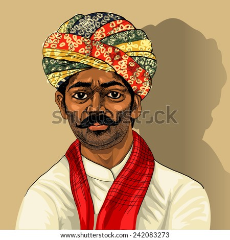 Indian man colorful background for your design - stock vector