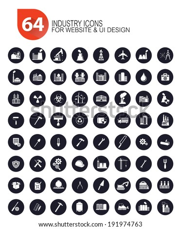 64 Industrial icon set,vector - stock vector