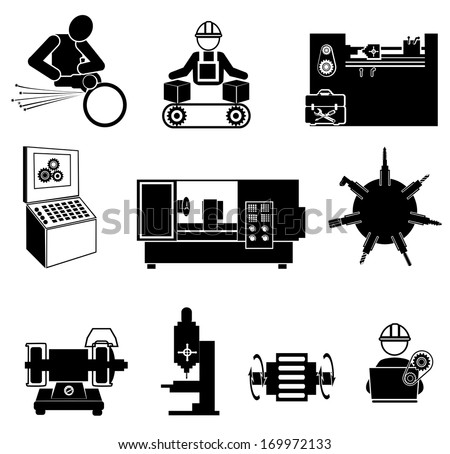 Industrial operation.Mechanic icon. - stock vector