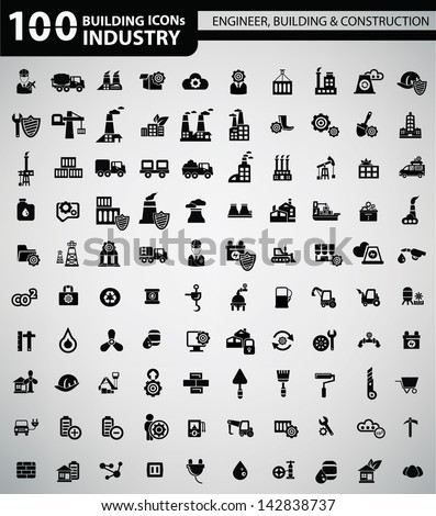 100 Industry, Building, Construction & Engineering icons,vector - stock vector