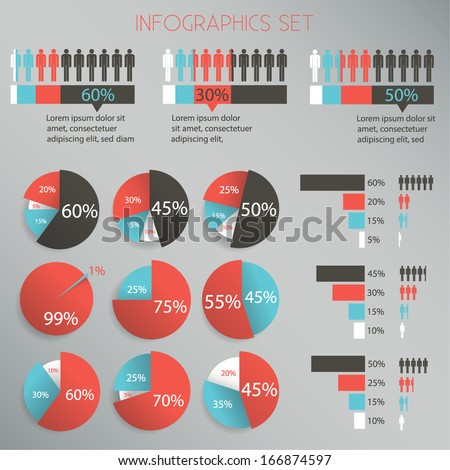 Infographics Design Set - pie chart, graph - Vector EPS10  - stock vector