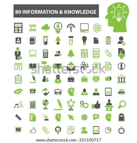 80 information knowledge, technology icons - stock vector