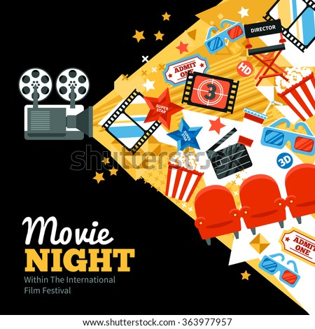 International cinema festival poster with tickets stars and shooting symbols flat vector illustration  - stock vector