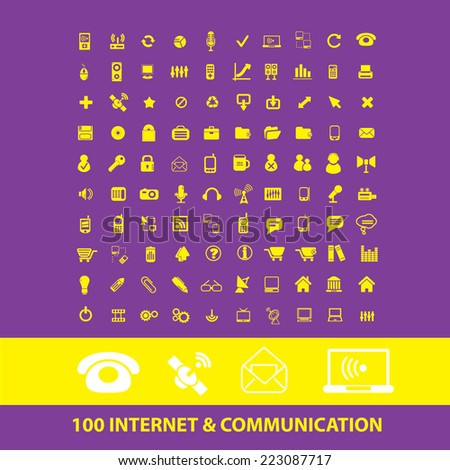 100 internet, communication, connection, phone isolated icons, signs, illustrations, silhouettes set, vector on background for web and mobile  - stock vector