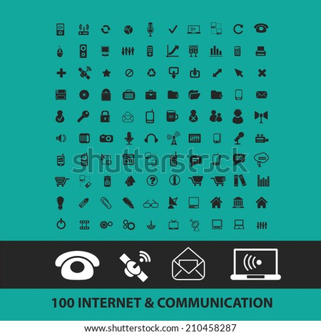 100 internet, communication icons, signs, symbols, objects, illustrations set. vector - stock vector