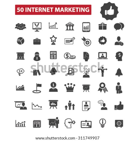 50 internet marketing black isolated concept icons, illustrations set. Flat design vector for web, infographics, apps, mobile phone servces  - stock vector