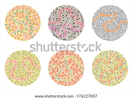 Ishihara Test. daltonism,color blindness disease. perception test,  - stock vector