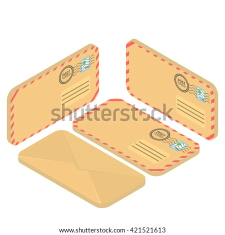 Isometric envelope yellow. Envelope icon, mail and open envelope, envelope template, Flat 3d isometric concept illustration.  - stock vector
